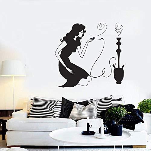 jtxqe Signo De Cachimba Y Chica Fumando En Cafe Hotel Decorativa De Pared Motivadora Negro O Color Adhesivos De Pared para La Decoración De La Sala De Estar De La Habitación del Hogar 61x57cm