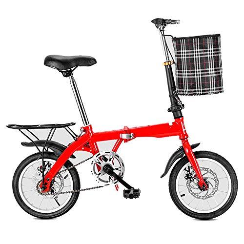 LinGo Bicicleta Plegable 14 Pulgadas Bike Portátil Resistente Al Desgaste Regolabile Bicicleta Urbana Para Estudiant Adultos De La Ciudad Ocio Bicicleta Plegable No Requiere Instalación,Rojo