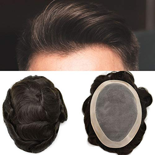FACE MIRACLE Fine Mono Mens Toupee Hairpiece Poly Coating Around Human Hair Replacement Monofilament Wig (6