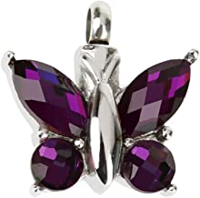 Novelty Butterfly Rhinestone Cremation Urn Memorial Ashes Pendant Jewelry