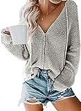 Aleumdr Cardigan Femme Pull Femme Gilet Chandail Fermeture Éclair Tricot Veste Outwear en Maille...