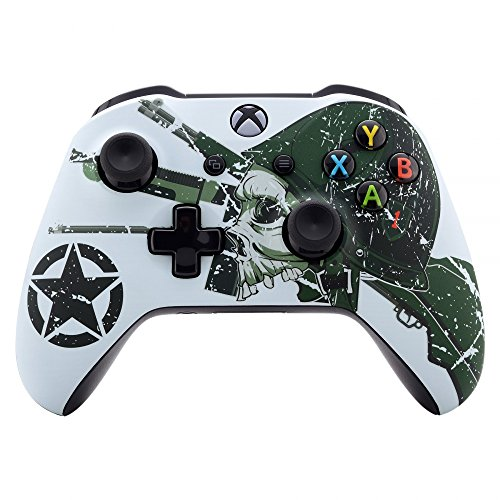 eXtremeRate WII US Army Skull Faceplate Cover, Soft Touch Front Housing Shell Case, Comfortable Soft Grip Replacement Kit for Xbox One S & Xbox One X Controller - Controller NOT Included
