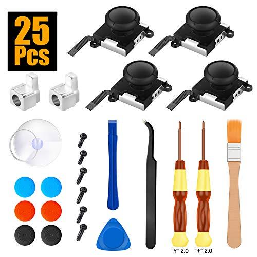OMKUY Switch Joy-con Repair Kit Tool Set 25pcs, Nintendo Switch Joycon Joystick replacement Parts, 3D Sensor Analog Joystick Joycon L/R Sensor Control for Con with Repair Accessories