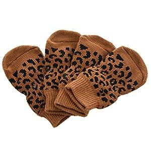 REFURBISHHOUSE Chaussettes Leopard Anti-Derapant pour Les Animaux domestiques Chaussettes de Protection pour Les Chiens et Les Chats - L