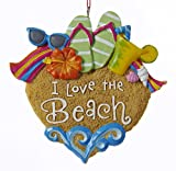 Kurt Adler I Love The Beach Sandals Sunglasses Shells Christmas Ornament
