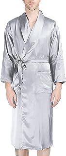 LZJDS Mens Bath Robe Silk Sleepwear Housecoat Long Kimono Dressing Gown SPA Robe Nightwear with Belt,Silver,XXL