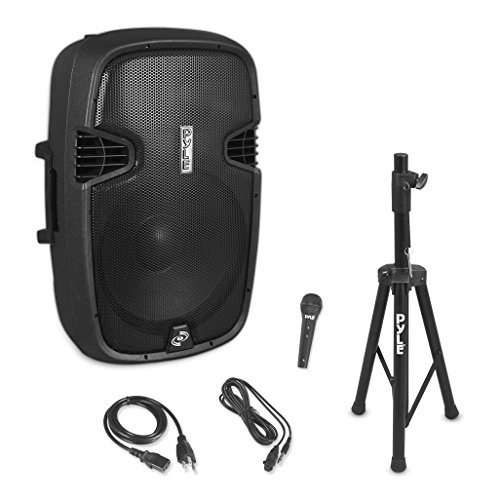 Wireless Portable PA Speaker System - 1500W High Powered Bluetooth Compatible Active Outdoor Sound Speakers w/USB SD MP3 RCA - 35mm Mount, Stand, Microphone, Power Cable - Pyle PPHP155ST