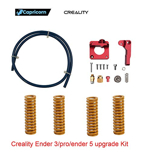 Creality 3D Printer Upgrade kit with Capricorn Premium XS Bowden Tubing, Metal Feeder Extruder Frame and Die Spring for Ender 3,Ender 3 Pro,Ender 5,CR-10/CCR-10S,S4,S5