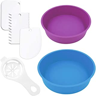 Roll over image to zoom in Silicone Cake Pan,Sonku Round Baking Mold 8 Inch and 6 Inch Non-Stick Bakeware Tool Set of 2 wi...