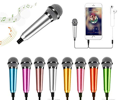 Mini Portable Vocal-Instrument Microphone for Voice Recording Chatting and Singing on Apple Phone Android (Silver)