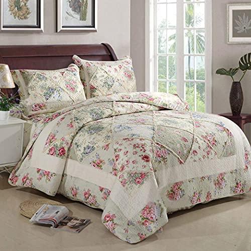 NundU Gesteppte Tagesdecke 3-teiliges Set Applikationen Bettdecke Spleißbezug Doppelbettbezug Spitze Kissenbezug Baumwolllaken-