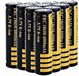 10 pcs 18650 Batería de Litio Recargable 3.7V 4000mAh Baterías de botón de Gran Capacidad para Linterna LED, iluminación de Emergencia, Dispositivos electrónicos, etc,18x65mm (Amarillo + Negro)