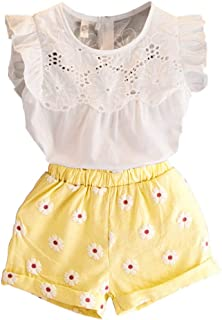 Happy Town 2PCS Set Toddler Kids Baby Girls Outfits Clothes T-Shirt Vest Tops+Shorts Pants(2-6 T)