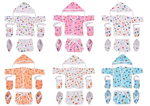 Toddylon Baby Boy/Baby Girl 6 Jhabla/Shirts with 6 Nappies, 6 Cap and 6 Pairs of Mitten & Booty (0-6 Months) (Assorted)
