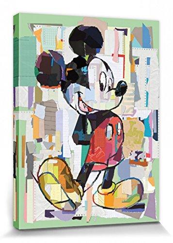 1art1 Mickey Mouse Poster Reproduction sur Toile, Tendue sur Châssis - Portrait Artistique Disney, Découpage Bureau (80 x 60 cm)