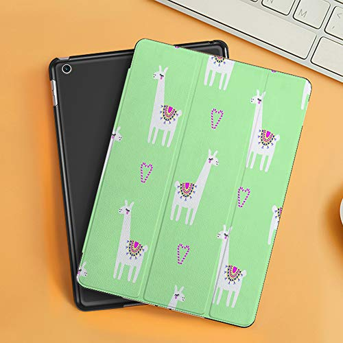 Case for iPad Air 10.2(2019/2018),Llama Candy Cane Hearts Funny Pattern on Mint Green Mint Green Background,Cover with Auto Sleep Wake Feature, Slim Lightweight Stand Protective Case