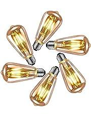 Edison vintage gloeilamp E27, LED vintage gloeilamp E27 4W, retro decoratieve Edison gloeilamp E27 warm wit, ideale verlichting thuis, in café, bar, etc, 6 stuks bagage[Energieklasse: A++]