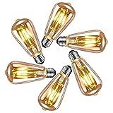 Bombilla de Filamento LED E27, E27 Edison Vintage Bombilla 6W, Filamento Antiguo LED Bombilla de Decorativa, iluminación ideal en casa, en cafetería, bar, etc., 6 piezas de