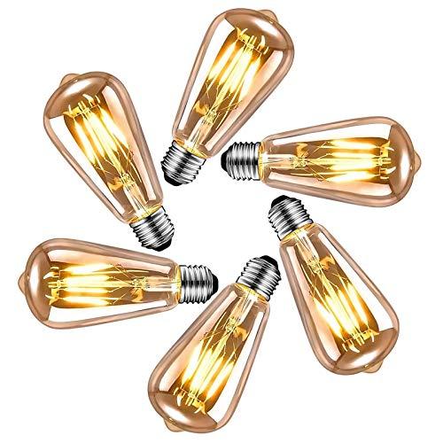 Edison Vintage Glühbirne E27, LED Vintage Glühbirne E27, Retro Dekorative Edison Glühbirne E27 warmweiß, ideale Beleuchtung zu Hause, im Café, Bar usw,6 Stücke Gepäck