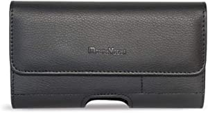Mobile Vogue by Reiko Premium Eco-Friendly Leather Phone Pouch Belt Clip Holster Compatible with iPhone/Galaxy/Stylo/Android Phone with Protective Case on (Black-MV500, 6.1 x 3.2 x 0.7 in)