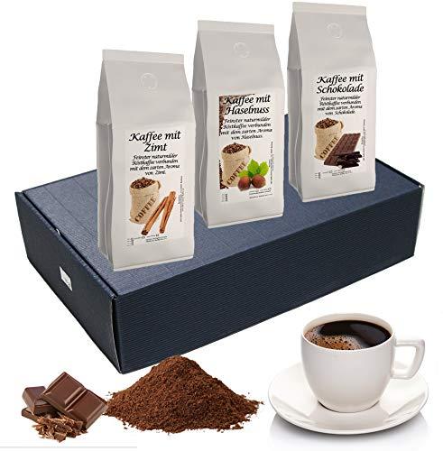 Geschenk Set Aromatisierter Kaffee Ganze Bohne 3 x 200 g (Haselnuss, Zimt und Schokolade)