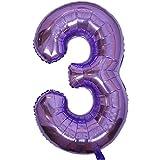 DIWULI, XXL Globos Gigante de número, Numero 3, Globo púrpura, Globos de números Alumin...