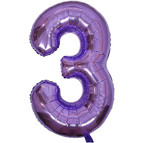 DIWULI, gigantische XXL Zahlen-Ballons, Zahl 3, lila Luftballons, Zahlenluftballons lila, Folien-Luftballons groß Nummer Nr Jahre, Folien-Ballons 3. Geburtstag, Party-Deko, Dekoration, Geschenk-Deko