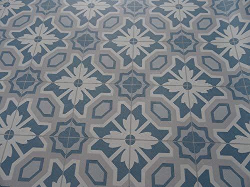 PVC Bodenbelag in Retro Chic türkis-weiß (9,95€/m²), kleines Muster