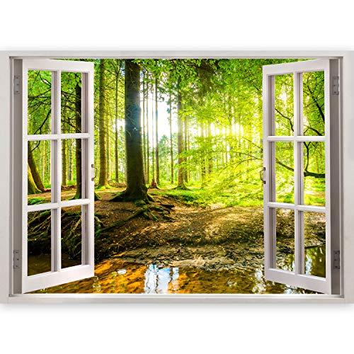 murando - 3D WANDILLUSION 140x100 cm Wandbild - Fototapete - Poster XXL - Fensterblick - Vlies Leinwand - Panorama Bilder - Dekoration - Meer Strand Dünen