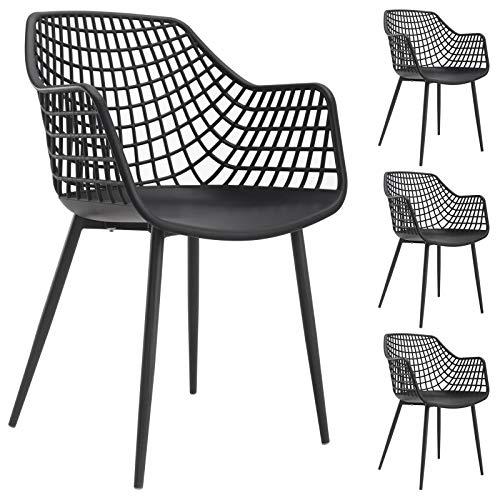 IDIMEX Esszimmerstuhl Lucia im Retro Design, Stühle Küchenstuhl Essstühle Stuhl mit Armlehne, aus Kunststoff, im 4er Set, in schwarz