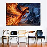 Estilo nórdico Golden Phoenix Animal Painting Bird Wall Art Print Posters Modern Canvas Prints para la decoración del hogar de la Sala de estar-60x90cm (sin Marco)