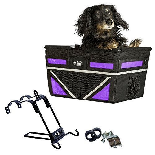 Travelin K9 Pet-Pilot MAX Dog Bicycle Basket Carrier | 8 Color Options for Your Bike (Purple Passion)