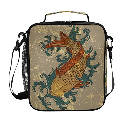 BKEOY Lunch Bag Koi Carp Fish Japan Insulated Cooler Bag Food Lunch Organizer Thermal Lunch Box Bag School Outdoor Picnic Work