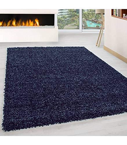 Teppich Hochflor Wohnzimmer Langflor Shaggy Unifarbe vers. Farben und Größen - Navy, 80x150 cm