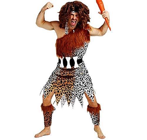 KIRALOVE Pri01 - Disfraz de Hombre de Las cavernas primitivo - habitantes de Las cavernas - Picapiedra - Disfraces - Halloween - Carnaval - Accesorios - Talla única - Adultos - Idea de Regalo Cosplay