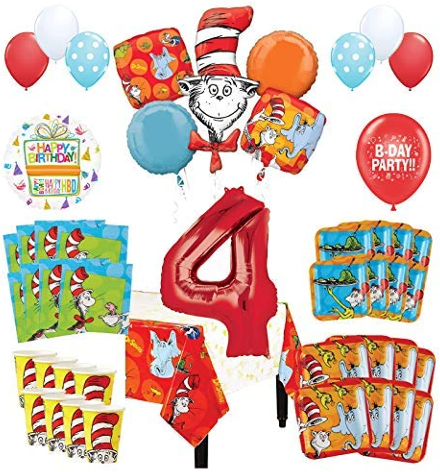 Mayflower Products Dr Seuss 4th Birthday Party Supplies 8 Guest Decoration Kit and Balloon Bouquet