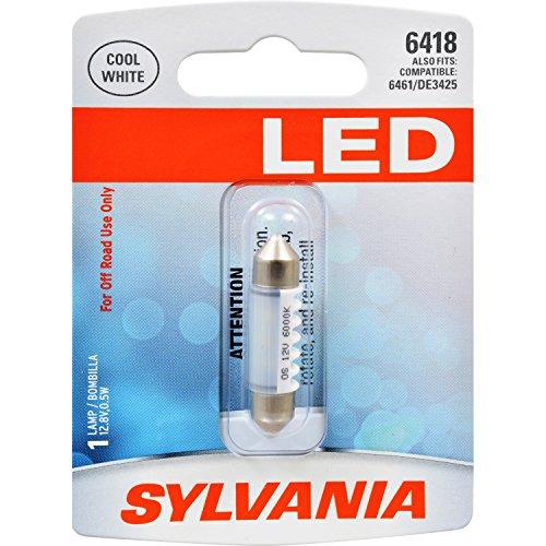 Sylvania 6418 White LED Automotive Mini Bulb, Pack of 1.