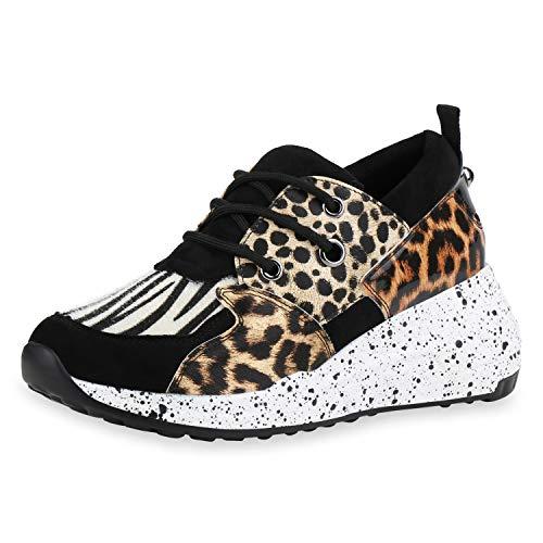 SCARPE VITA Damen Sneaker Wedges Keilabsatz Schuhe Animal Prints Turnschuhe Keilsneaker Schnürer Freizeitschuhe 185838 Schwarz Hellbraun 39