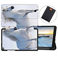 MAITTAO Galaxy Tab A 8.0 2019 Case SM-T290 T295 T297, Slim Magnetic Leather Folio Shell Stand Cover For Samsung Galaxy Tab A 8.0 Inch Tablet Sleeve Bag 2 in 1 Bundle, Akhal-Teke Horse 10