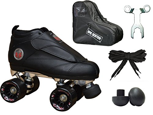 Epic Skates New Black Evolution Quad Roller Jam Speed Skates & Bag Bundle! (Mens 6)