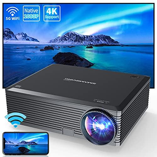 Proyector, SMAMOVING Full HD 1920*1080P Nativo Soporta 4K Proyector WiFi,Proyector Portátil,Compatible con Smartphone ,PC ,TV Stick/Box ,HDMI,USB,PS4 / 5