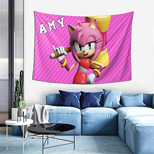 JamesAFlannigan Sonic Boom-Amy Rose Anime Tapestry Wall Hanging Decoration, Used in Apartment Family Art Wall Tapestry, Bedroom Living Room Dormitory Fashion 60 40inch