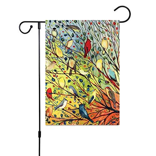 Isaiah Professionele Nieuwe Decoratieve Welkom Bloem Lente Zomer Tuin Vlag Papavers & Vogelhuisjes Dieren Tuin Banner (Geen Paal) vijand thuis