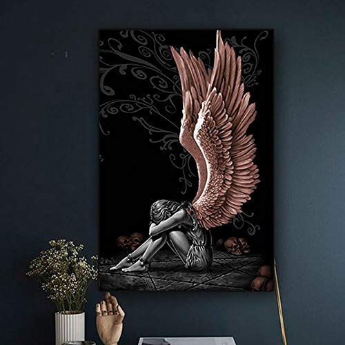 wZUN Carteles e Impresiones de Lienzo de Ángel y Diablo imágenes murales Pinturas Decorativas Sala de Estar decoración del Dormitorio 60X90 Sin Marco