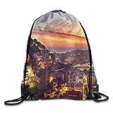 Sporttasche mit Kordelzug, Sportrucksack, Reiserucksack, Fabric Cityscape of Lisbon Portugal Traditional Seaside City Colorful Sky Sunset Evening View Bags