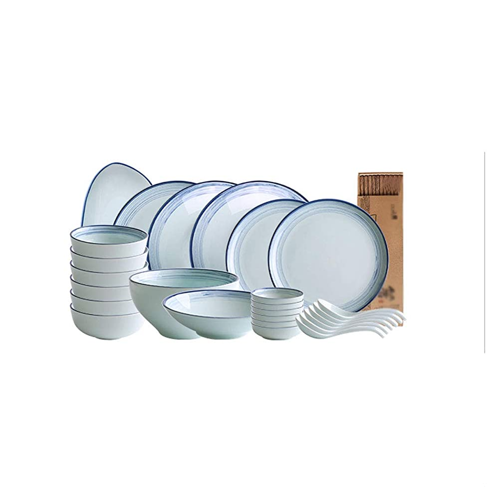ZHAO YING Plain Line 26 Heads Ceramics Cutlery Set Bowl Dish Suit Plate Household Dinner Plate Job Soup Bowl (Color : Blue)