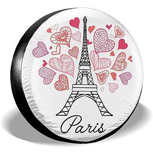 Y.Z.L. Eifel Tower Paris Voller St. Valentinstag Reserverad Reserveradabdeckung Wasserdicht Staubdicht Universal Für Viele Fahrzeuge 14-17IN