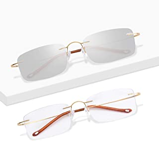 add55a45f0 Gafas de lectura de Titanio, sin Montura, para Hombre, para Mujer | Lente