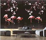 MIYCOLOR 3D Foto Tapete benutzerdefinierte Wandbild Hand gezeichnete Magnolie Flamingo Wohnzimmer Wohnkultur 3D Wandbilder Tapete für Wände 3 d, 350x245 cm (137,8 x 96,5 in)