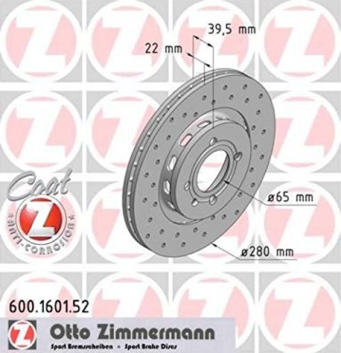 Zimmermann 600,1601.52 Freno de Disco Delantero, Perforado, Sport Coat Z